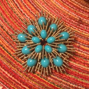 Avon Jewelry - Avon Gold and Turquoise Brooch